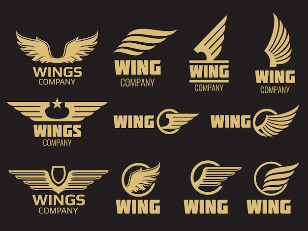 Vleugels logo collectie - gouden auto vleugels logo sjabloon Premium Vector