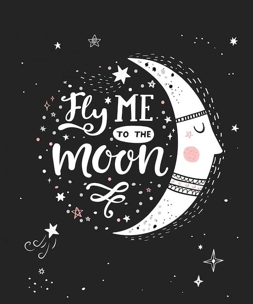 Vlieg me naar de maan monochrome poster Premium Vector