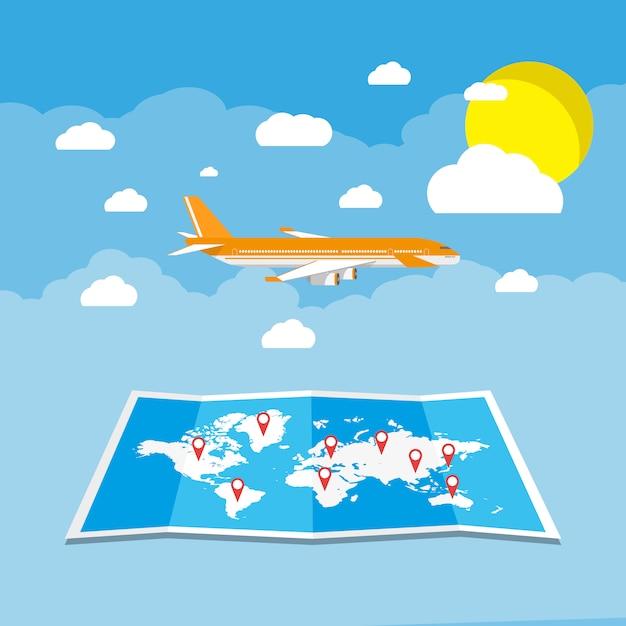 Vliegen met een vliegtuig naar reisbestemming Premium Vector
