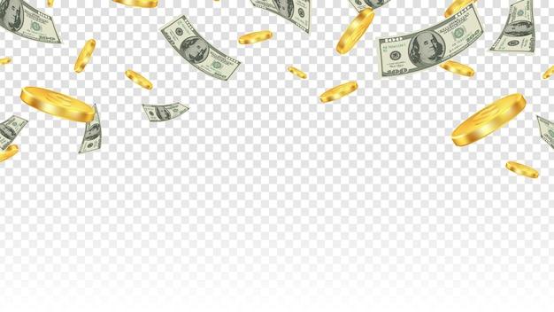 Vliegend geld. gouden munten en bankbiljetten in de lucht geïsoleerd op transparante achtergrond. Premium Vector