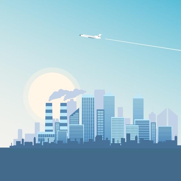 Vliegend vliegtuig over het metropolis-gebouw. Premium Vector