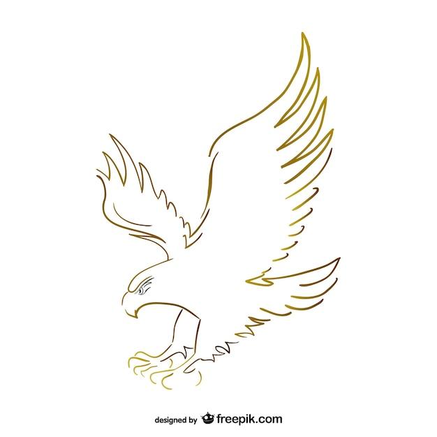 Vliegende adelaar schets vector Gratis Vector