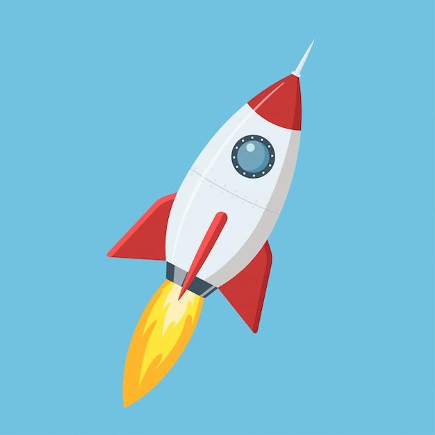 Vliegende cartoon raket in vlakke stijl Premium Vector