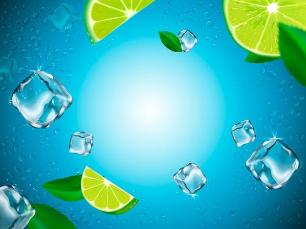 Vliegende citroenen, ijsblokjes en waterdruppelelementen, lichtblauwe glazen achtergrond, illustratie Premium Vector