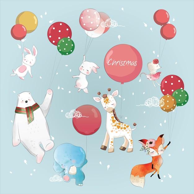 Vliegende dieren met ballonnen Premium Vector