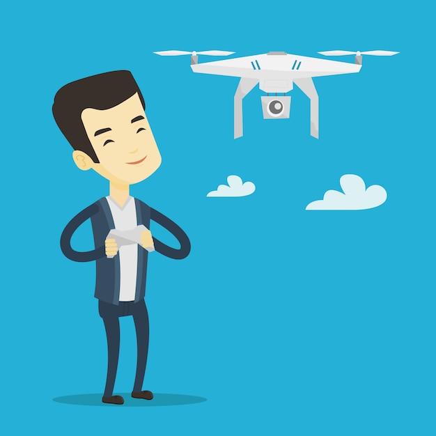 Vliegende drone vectorillustratie man. Premium Vector
