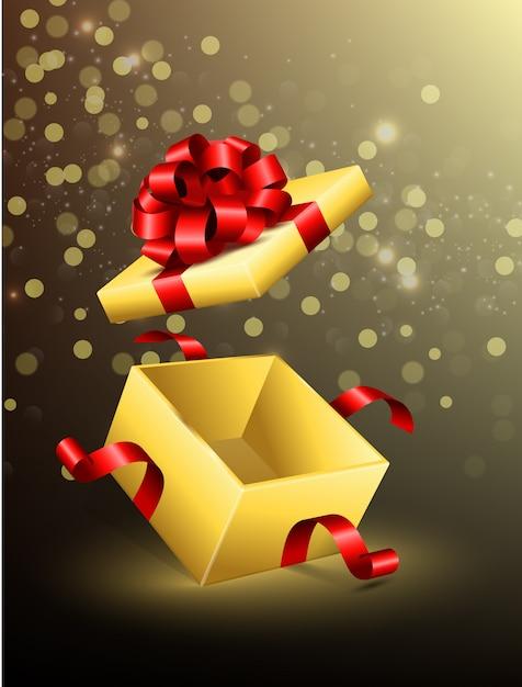 Vliegende geopende geschenkdoos met rode linten Premium Vector