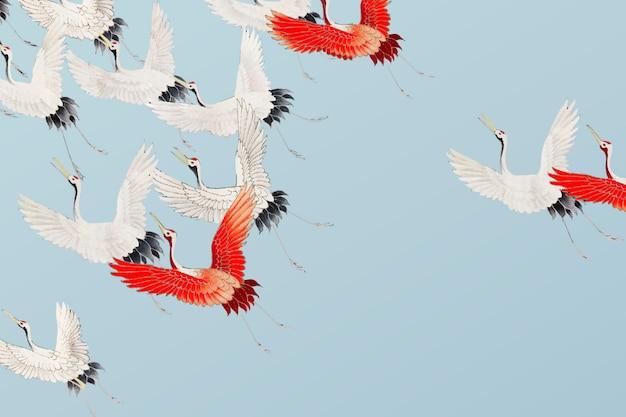 Vliegende kranenillustratie Gratis Vector