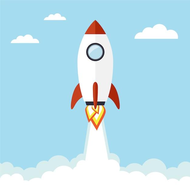 Vliegende raketachtergrond Gratis Vector