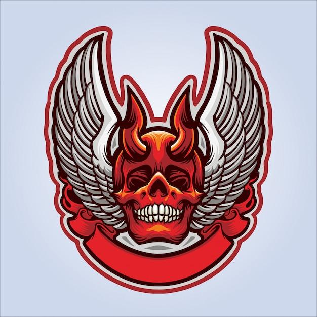 Vliegende schedel demon Premium Vector