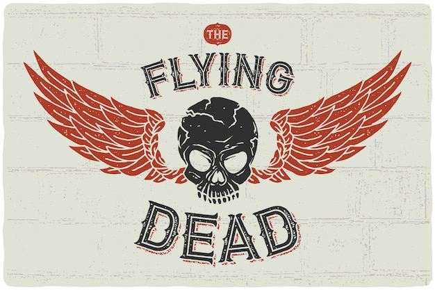 Vliegende schedel poster Premium Vector