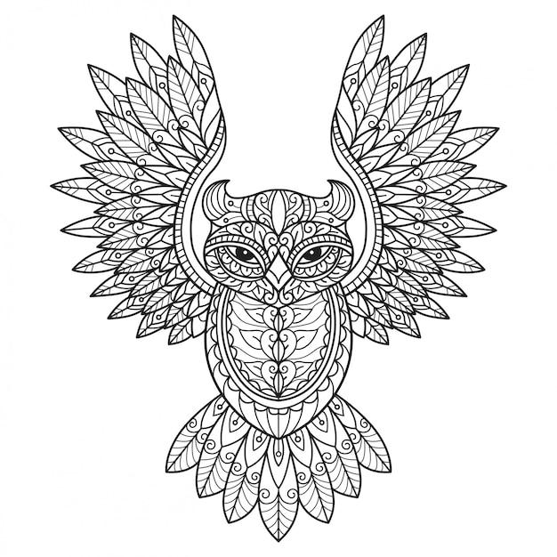 Vliegende uil. hand getrokken schets illustratie voor volwassen kleurboek. Premium Vector