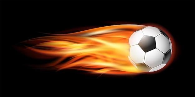Vliegende voetbal of voetbal in brand. Premium Vector