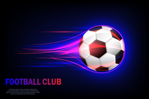 Vliegende voetbal. voetbalclub. kaart voor voetbalclub met vliegende voetbal Premium Vector