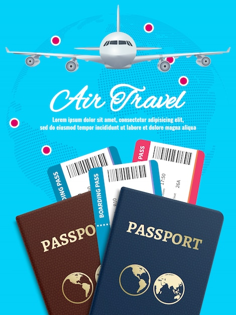 Vliegreizen banner met aarde vliegtuig paspoort en tickets Premium Vector
