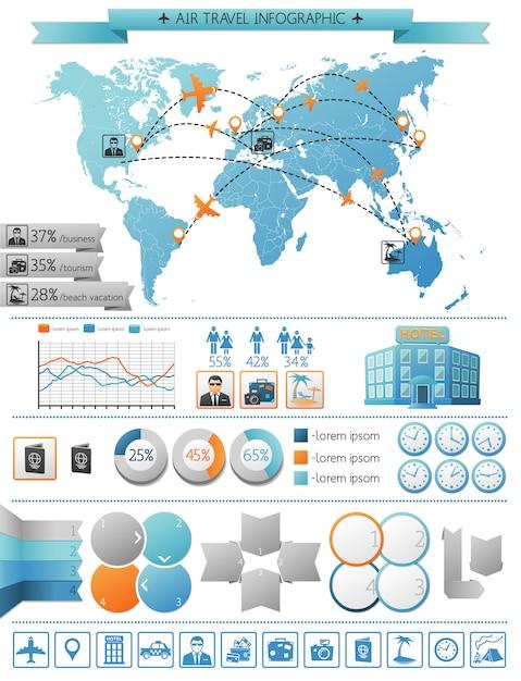 Vliegreizen infographic concept Gratis Vector