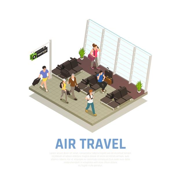Vliegreizen isometrische samenstelling van mensen met bagage in de wachtzone van de luchthaventerminal Gratis Vector