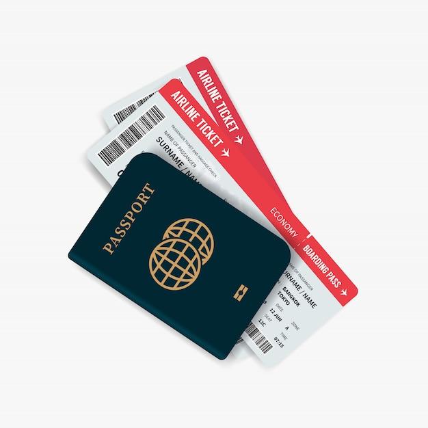 Vliegtickets en paspoort. Premium Vector