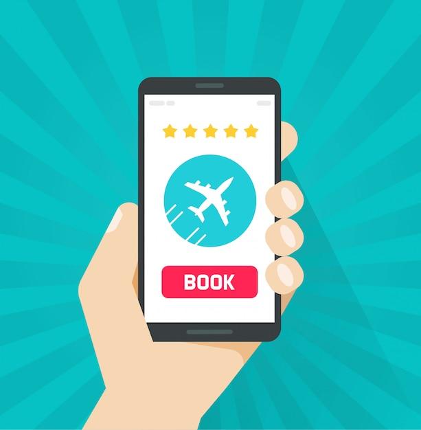 Vliegtickets online boeken van internet via mobiele telefoon of mobiele telefoon Premium Vector