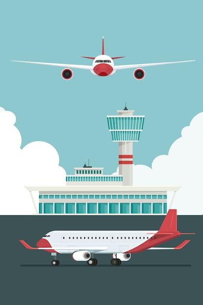 Vliegtuig bij aankomst op de luchthaven en vertrek reizen hemel en wolk Premium Vector