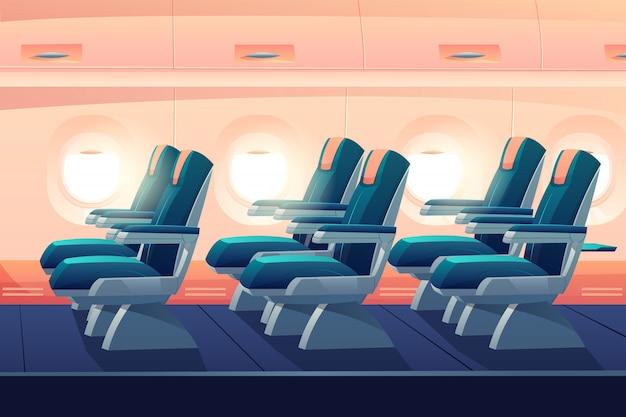 Vliegtuig economy class met zitplaatsen Gratis Vector