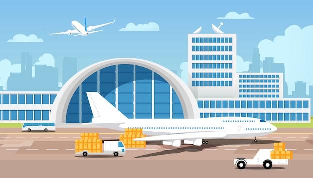 Vliegtuig en pakjes op vrachtwagens komen uit magazijn Premium Vector