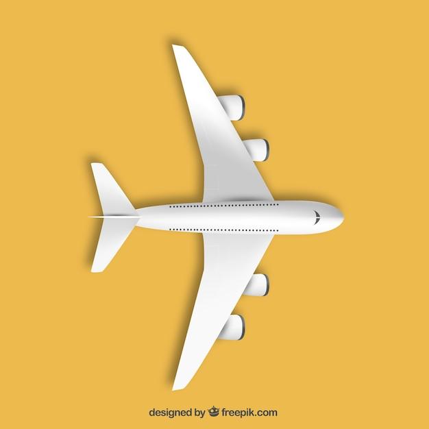 Vliegtuig in bovenaanzicht Gratis Vector