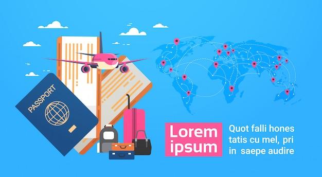 Vliegtuig, instapkaart en tickets met bagage over wereldkaart achtergrond, reizen banner met kopie ruimte Premium Vector