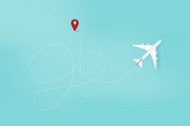 Vliegtuig lijn pad, ga reisroute. vliegtuigvluchtroute met startpunt en streepjeslijn. vector Premium Vector