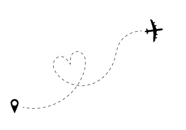 Vliegtuig met lijnpad. vliegtuigroute met locatiespeld. Premium Vector