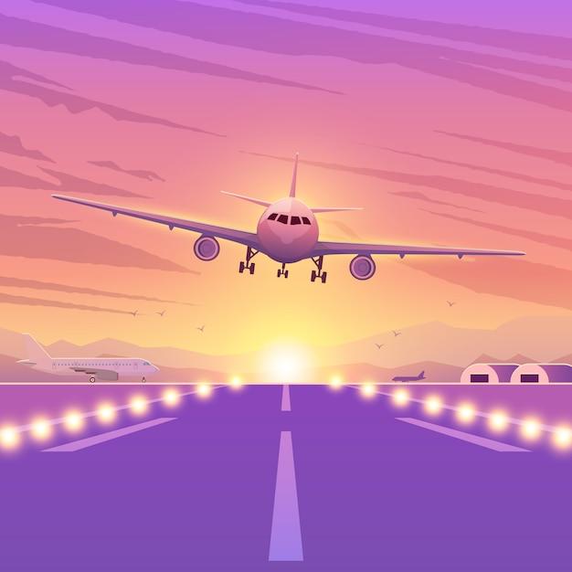 Vliegtuig op roze achtergrond met zonsondergang. een vliegend vliegtuig in de lucht. landing illustratie. Premium Vector