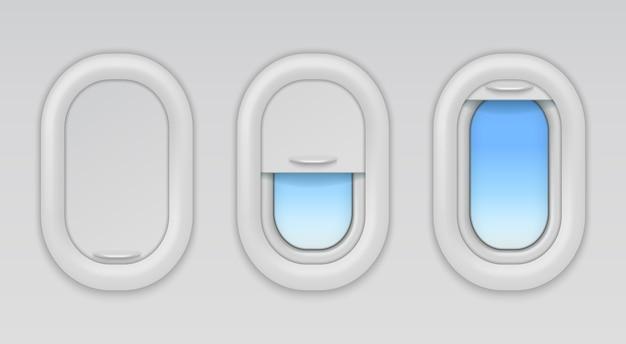 Vliegtuig ramen. patrijspoorten van vliegtuigen met blauwe hemel. open, gesloten en half gesloten soorten vliegtuigraam Premium Vector