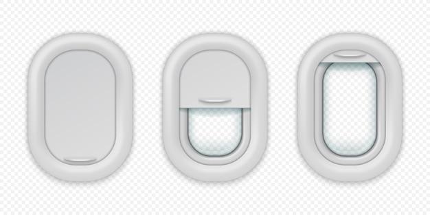 Vliegtuig ramen. realistische vliegtuigpatrijspoort in verschillende posities, open gesloten en half gesloten Premium Vector