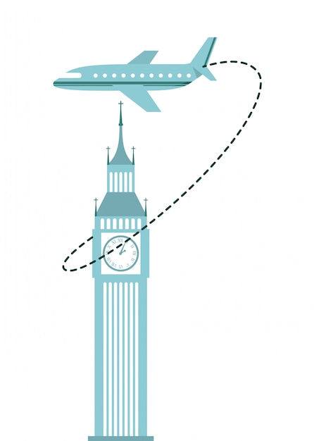 Vliegtuig reizen Premium Vector