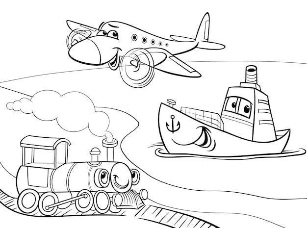 Vliegtuig schip trein cartoon kleurplaat Premium Vector