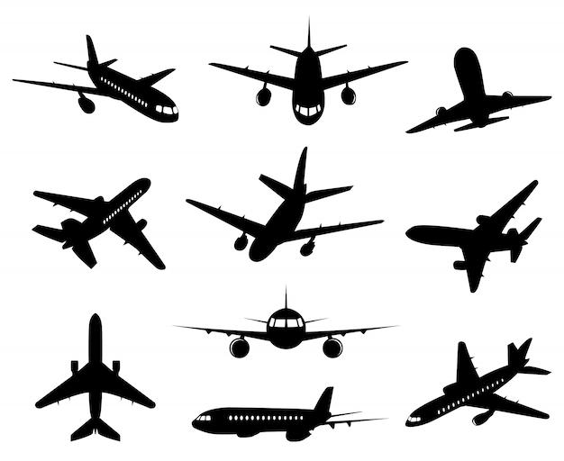 Vliegtuig silhouet. passagiersvliegtuig, achterkant voorkant en onderkant uitzicht, vliegtuigen jet silhouetten illustratie pictogrammen instellen. jet monochroom, vliegtuig en vliegtuig, commerciële passagiersvlucht Premium Vector