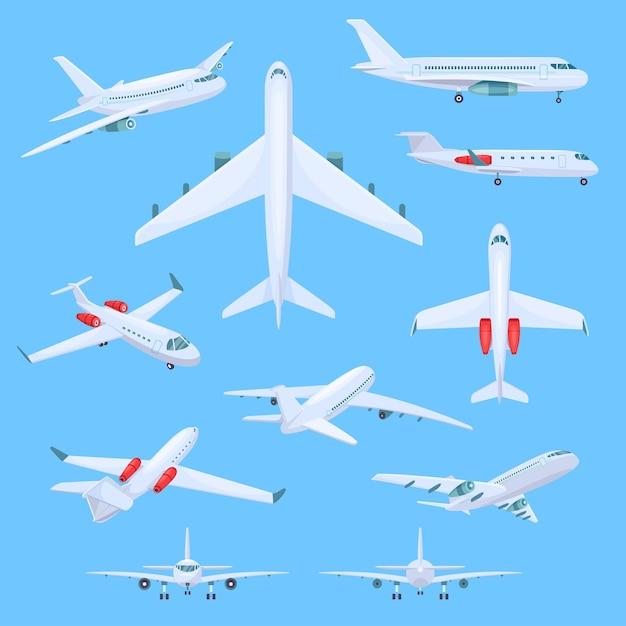 Vliegtuig vliegende illustraties Premium Vector