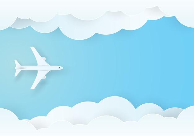 Vliegtuig vliegt in de lucht Premium Vector