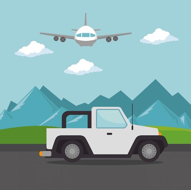 Vliegtuig vliegt met jeep vervoer Gratis Vector