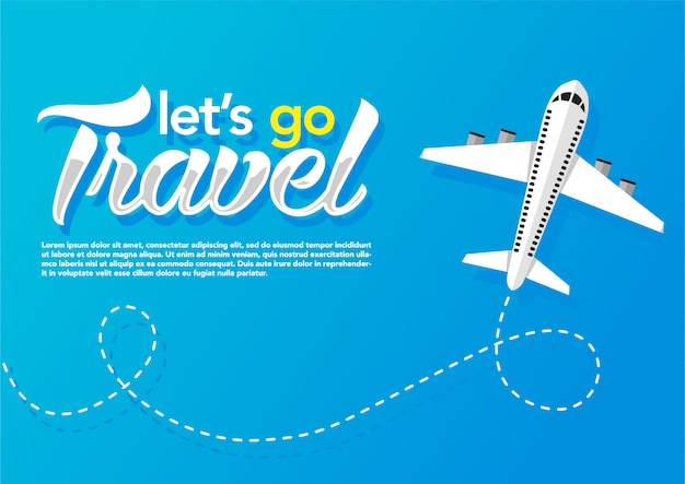 Vliegtuig vliegt op blauwe achtergrond. webbanner Premium Vector