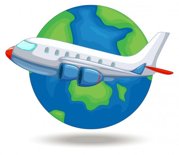 Vliegtuig vliegt rond de wereld Premium Vector