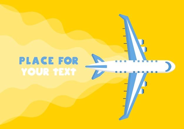Vliegtuig, vliegtuigen, helikopters met een plek voor uw tekst in cartoonstijl. bovenaanzicht van een vliegend vliegtuig. Premium Vector