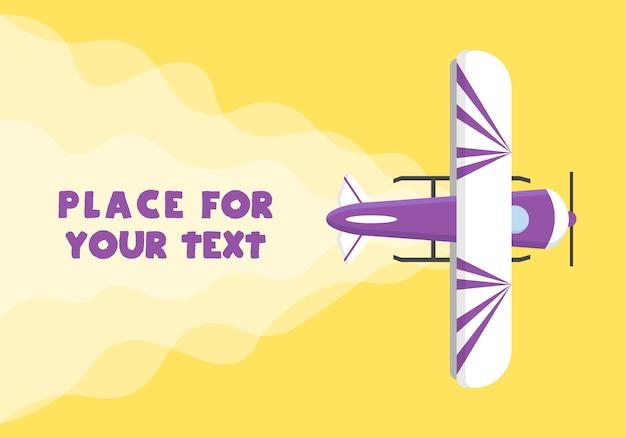 Vliegtuig, vliegtuigen, helikopters met een plek voor uw tekst in cartoonstijl. perfect voor webbanners en advertenties. bovenaanzicht van een vliegend vliegtuig. illustratie,. Premium Vector