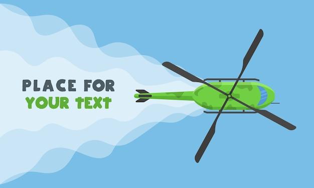 Vliegtuig, vliegtuigen, helikopters met een plek voor uw tekst in cartoonstijl. perfect voor webbanners en advertenties. bovenaanzicht van een vliegend vliegtuig. Premium Vector