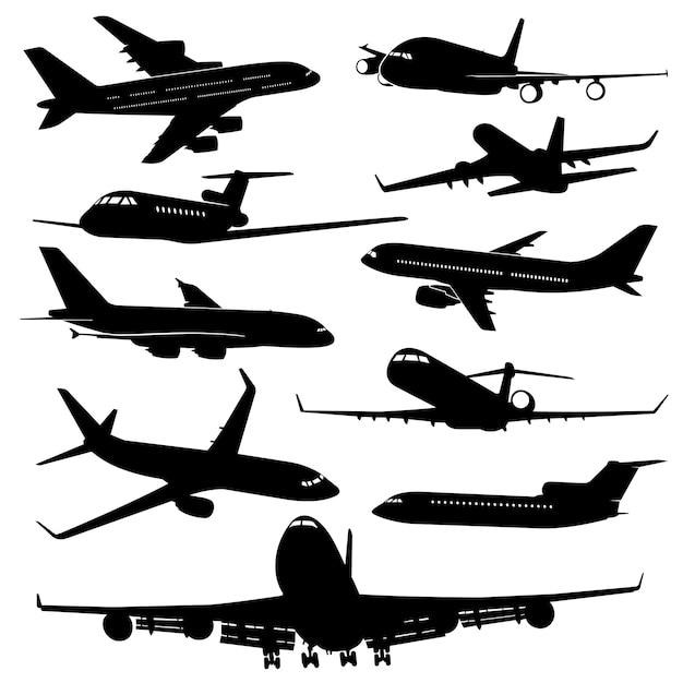 Vliegtuig, vliegtuigen jet silhouetten Premium Vector