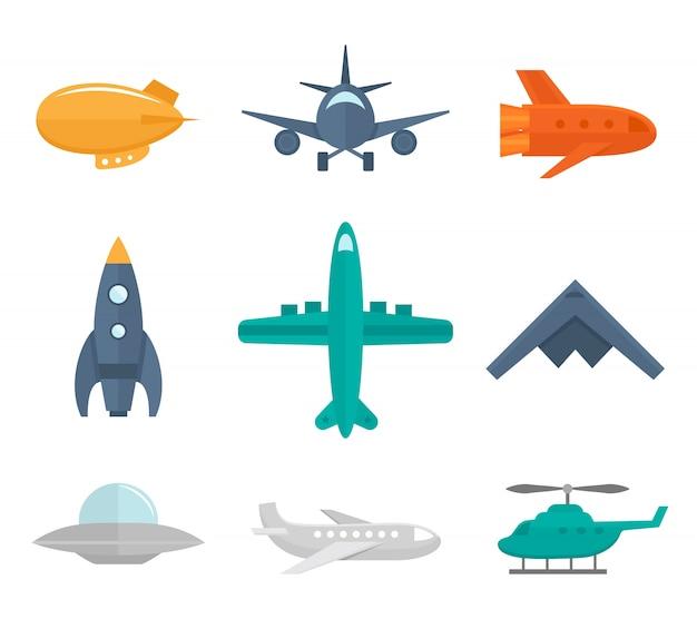 Vliegtuigen iconen vlakke set van zeppelin vliegtuigen oorlog vechter geïsoleerd vector illustratie Gratis Vector