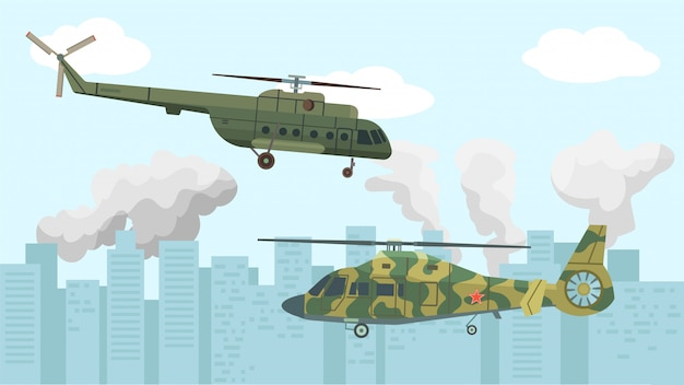 Vliegtuigen luchtvaart, militaire helikopter illustratie. air leger vlucht voor ongeval, transport kracht achtergrond. Premium Vector