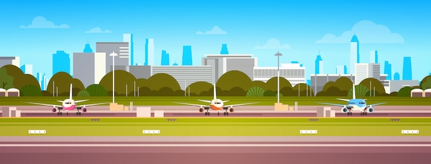 Vliegtuigen over luchthavengebouw Premium Vector
