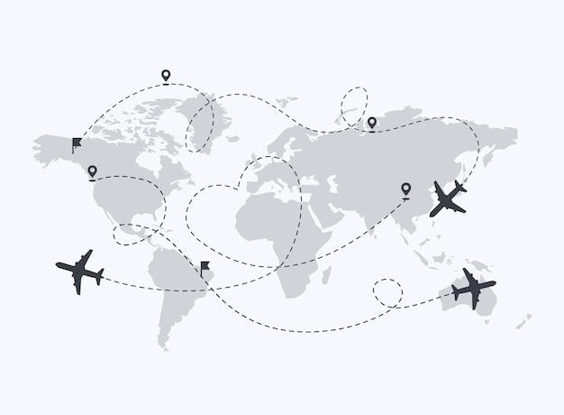 Vliegtuigen pad met locatie pinnen illustratie Premium Vector