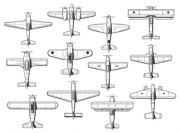 Vliegtuigpictogrammen, vliegtuigen en vliegtuigenpictogrammen, retro Premium Vector